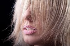 Free Woman S Red Lips Strewed With Sugar Stock Photos - 17411303