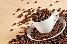 Free Cup Of Coffee Beans 2 Stock Images - 17411414