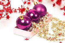 Free Three Chrispmas Purple Balls Stock Image - 17411901