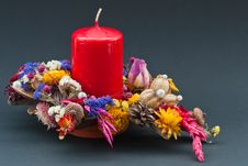 Free Decoration Of  Dry Flowers With A Red Candle Stock Photo - 17412160