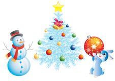 Christmas Tree, A Snowman And A Rabbit. Royalty Free Stock Photo