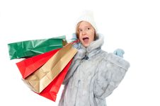 Free Winter Girl With Gift Bags Stock Photo - 17412630