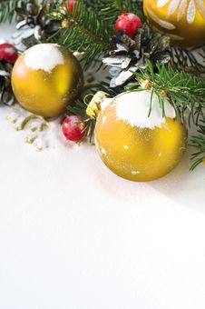 Xmas Tree And Baubles On The Snow Stock Photography