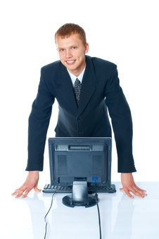 Free Young Man With A Computer Royalty Free Stock Photo - 17412705
