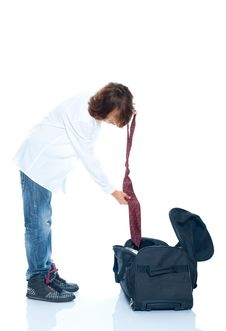 Boy Traveler Stock Photo