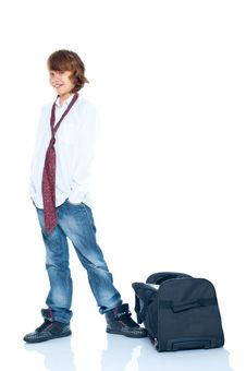 Boy Traveler Stock Image