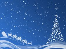 Free Blue Background With Christmas Tree Royalty Free Stock Image - 17413716