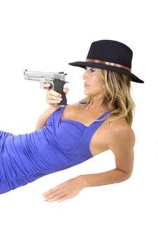 Free Woman And Gun Royalty Free Stock Image - 17414626