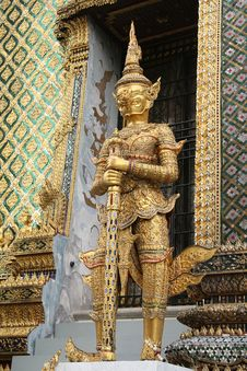 Free Ancient Thai Golden Demon In Temple Royalty Free Stock Image - 17415106