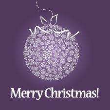 Free Christmas Ball On Purple Background Royalty Free Stock Images - 17415179