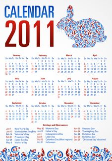 Free Calendar With Rabbit. 2011 USA Stock Images - 17415834