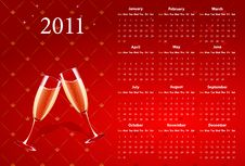Free Vector Red Calendar 2011 With Champagne Royalty Free Stock Images - 17415999