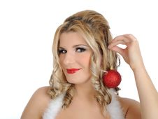 Free Beautiful Sexy Christmas Woman In Red Clothes Stock Images - 17416324