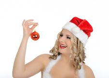Free Beautiful Sexy Christmas Woman In Red Clothes Stock Image - 17416361