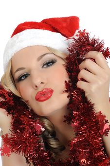Free Beautiful Sexy Christmas Woman In Red Clothes Stock Photo - 17416400