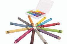 Free Colored Wax Pencils And A Watercolor Royalty Free Stock Photo - 17416415