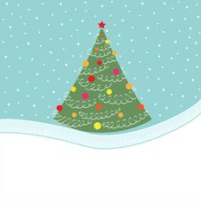 Free Card With Christmas Tree Stock Photography - 17416512