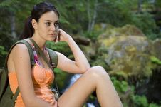 Young Woman Hiking In Summer Royalty Free Stock Photo