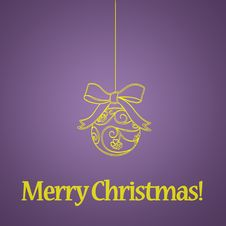 Free Christmas Ball On Purple Background Royalty Free Stock Photography - 17416767
