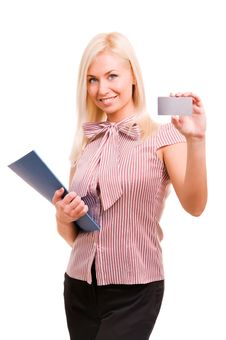 Woman Showing And Handing A Blank Business Card. Stock Image