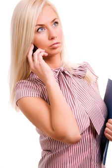 Free Woman With Telephone And Folder Isolated On W Royalty Free Stock Photos - 17417598