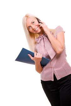 Free Woman With Telephone And Folder Isolated On W Stock Images - 17417604