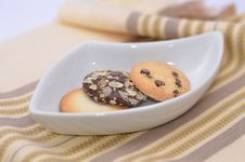 Delicious Cookies And Biscuits On White Plate Stock Photography