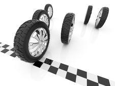 Free Wheel. Finish Of Race. 3D, Isolated Stock Photos - 17418293