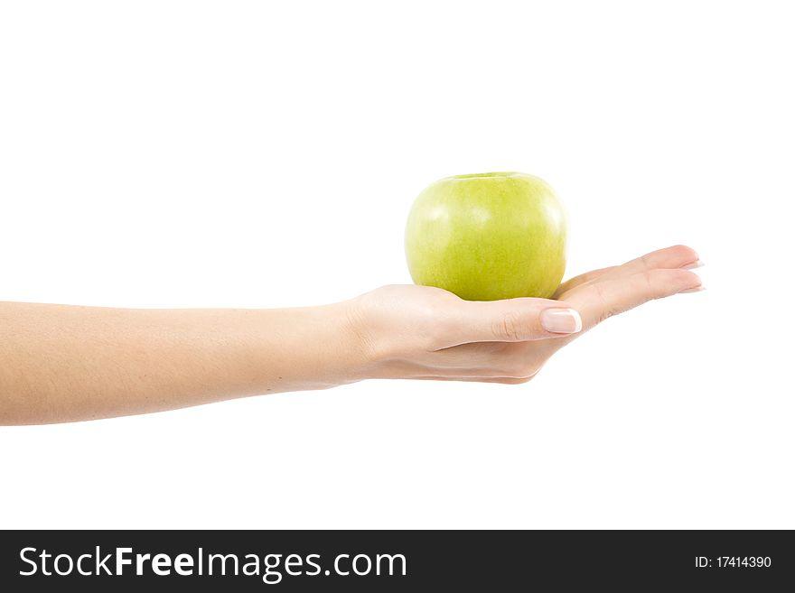 Green apple on hand