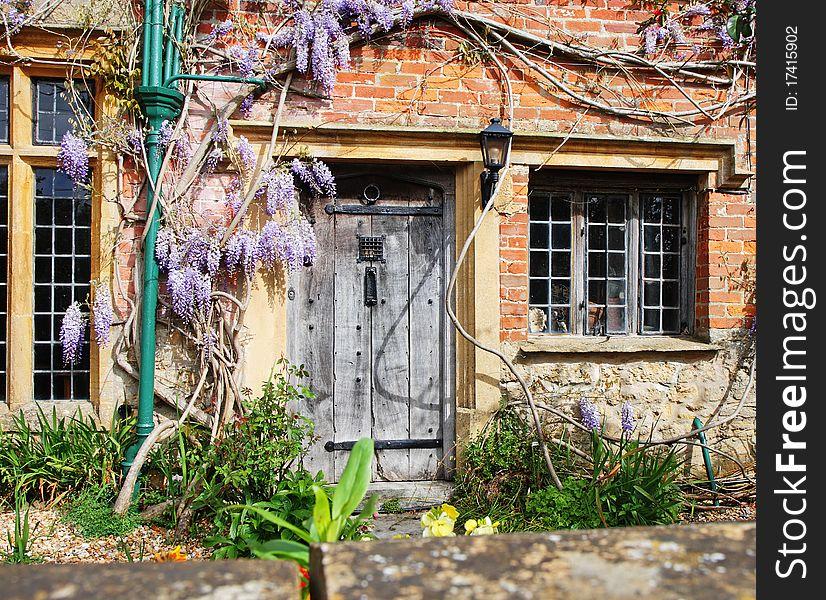 Wooden Door to an English Village Cottage