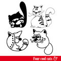 Free The Band Of Four Funkey Cats Stock Photography - 17421552