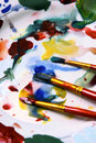 Free Watercolors, Brushes And Palette Royalty Free Stock Photography - 17423977