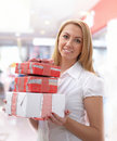 Free Young Girl With Gift Boxes Royalty Free Stock Images - 17426199
