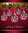 Free Christmas Background With Pred Balls Stock Photos - 17428033