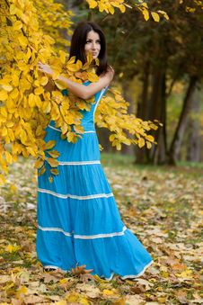 Free Woman With Yellow Leaves Royalty Free Stock Images - 17420089