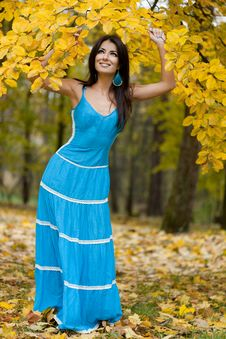 Free Woman With Yellow Leaves Royalty Free Stock Photography - 17420097