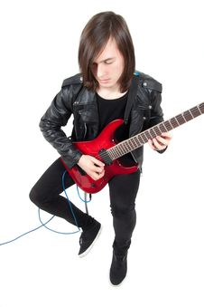 Free Rocker Playing Guitar Royalty Free Stock Photography - 17420107
