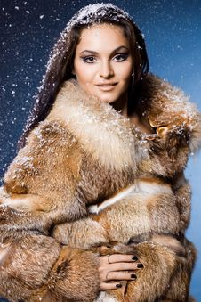 Free Beautiful Woman In A Fur Royalty Free Stock Photography - 17420147