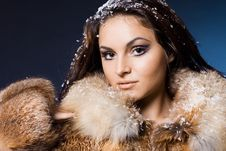 Free Woman In A Fur Coat Royalty Free Stock Image - 17420156