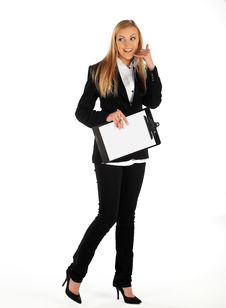 Free Business Girl Making Call Me Sign Stock Photography - 17420422