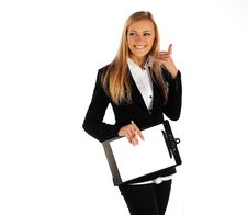 Business Girl Smiling And Showing Call Me Sign Royalty Free Stock Photos