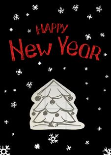 Happy New Year Tree Stock Photo