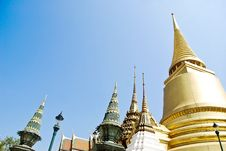Golden Buddha Temple On Blue Sky Stock Photography