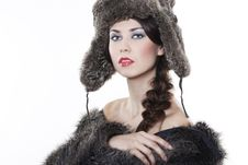 Free Beautiful Woman In A Fur Coat Royalty Free Stock Images - 17422349