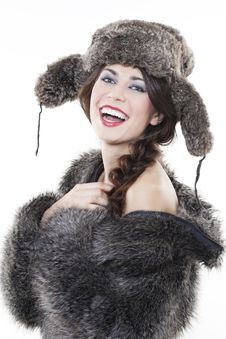 Free Beautiful Woman In A Fur Coat Stock Photography - 17422352