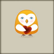 Free Cute  Bird With Heart Royalty Free Stock Photo - 17422545