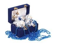 Christmas Decoration In Blue Box Royalty Free Stock Photo