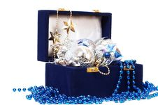 Christmas Decoration In Blue Box Stock Image