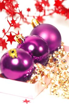 Three Chrispmas Purple Balls Stock Image