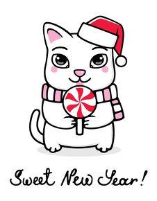 Free New Year Kitty Stock Photo - 17423890